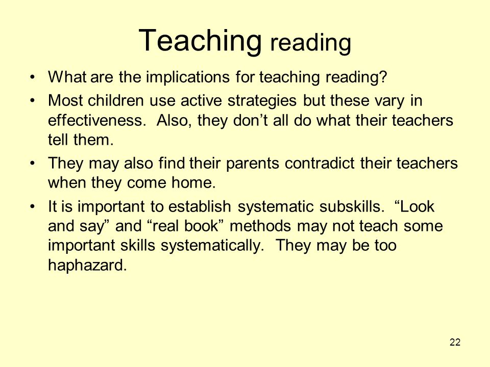 Teaching reading What are the implications for teaching reading