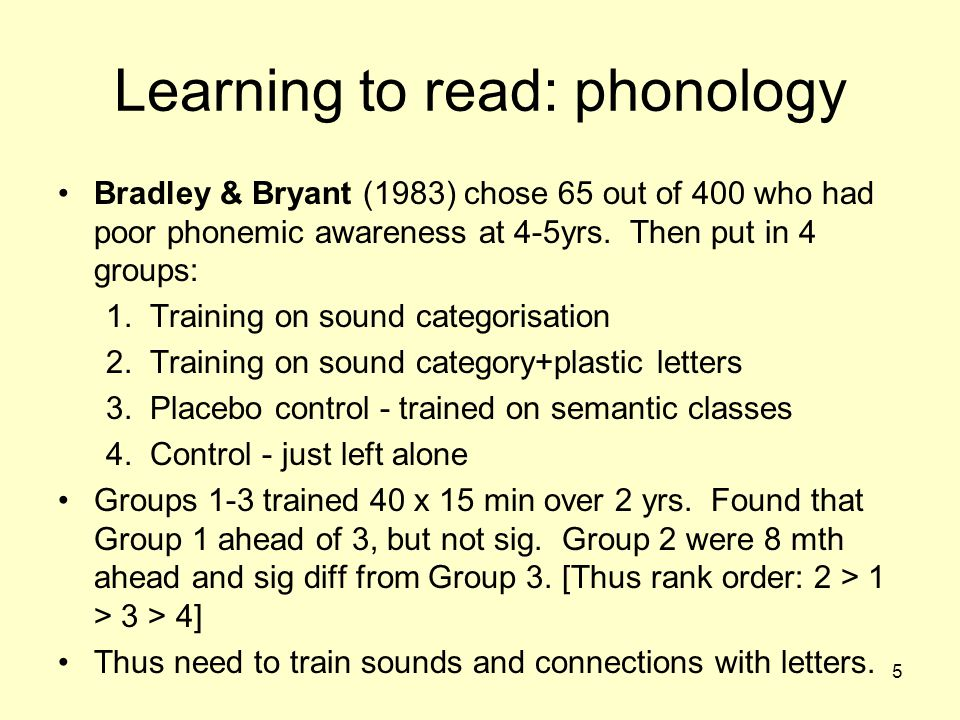 Learning to read: phonology