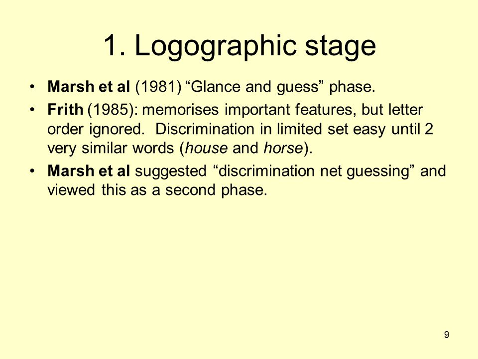 1. Logographic stage Marsh et al (1981) Glance and guess phase.