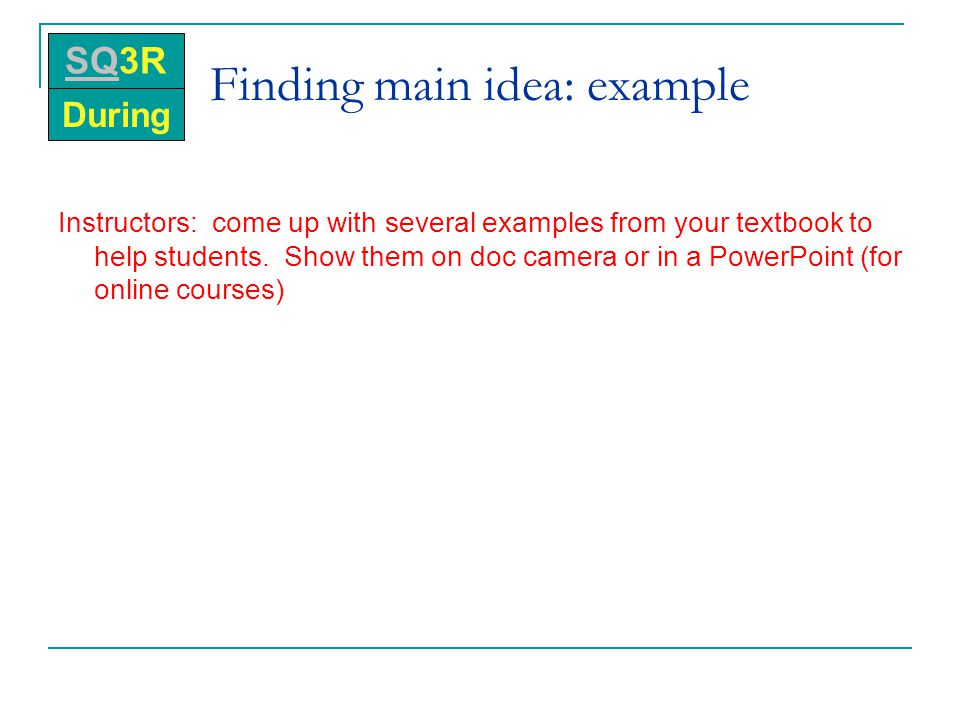 Finding main idea: example
