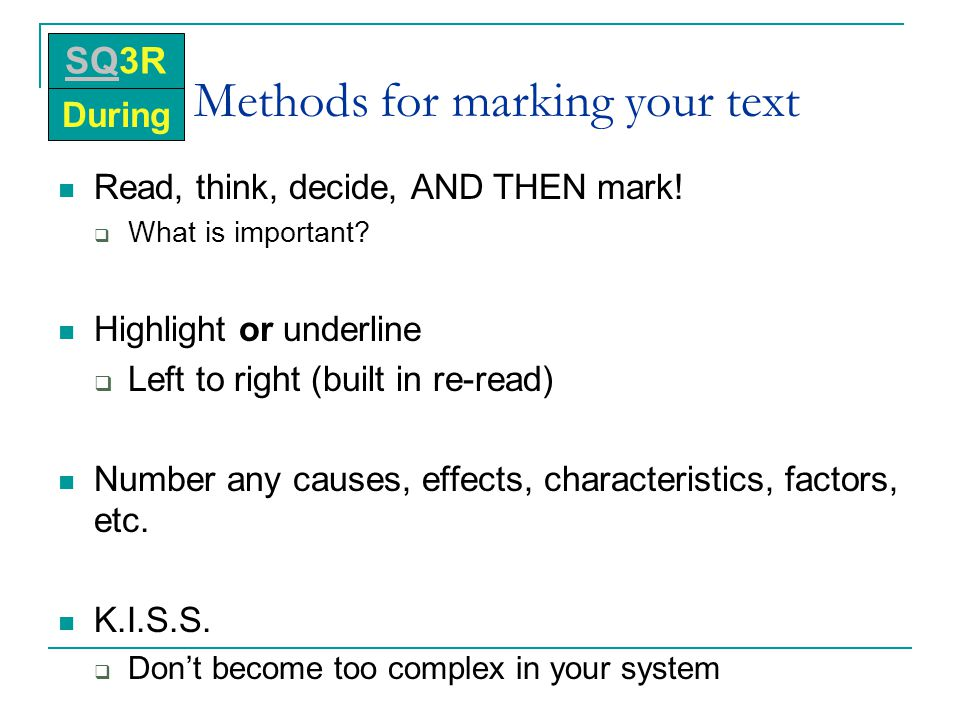 Methods for marking your text