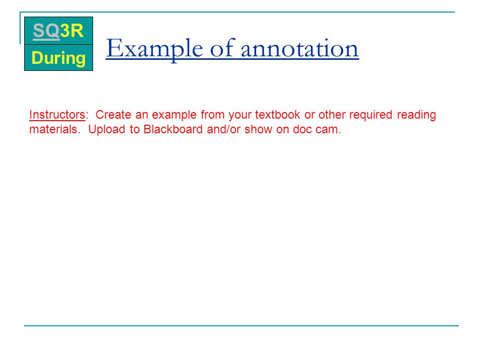 Example of annotation SQ3R During