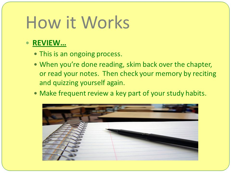 How it Works REVIEW… This is an ongoing process.