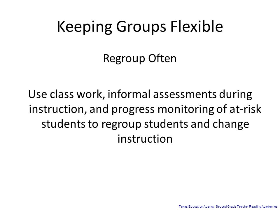 Keeping Groups Flexible