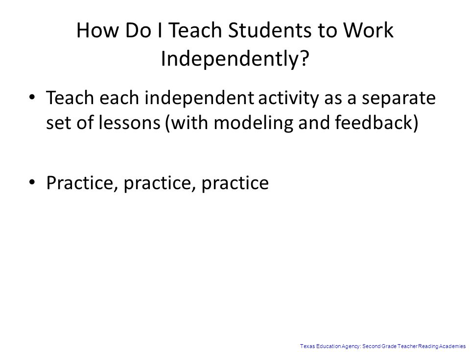 How Do I Teach Students to Work Independently