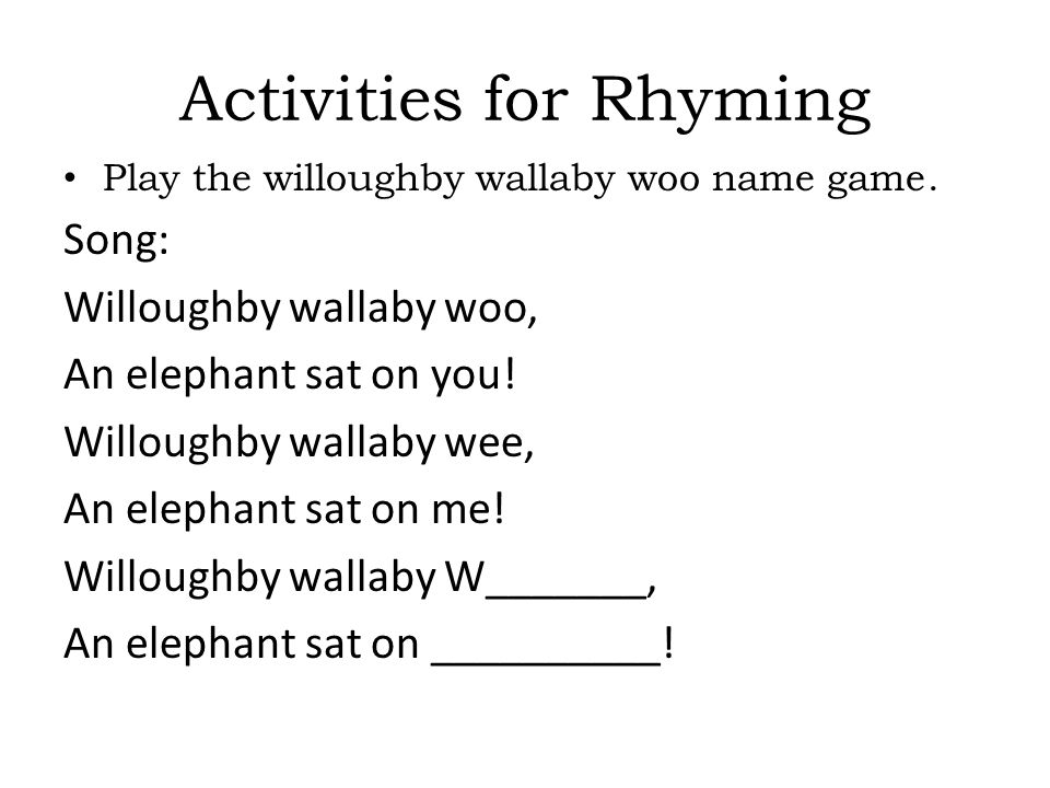 Activities for Rhyming