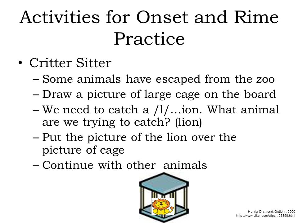Activities for Onset and Rime Practice