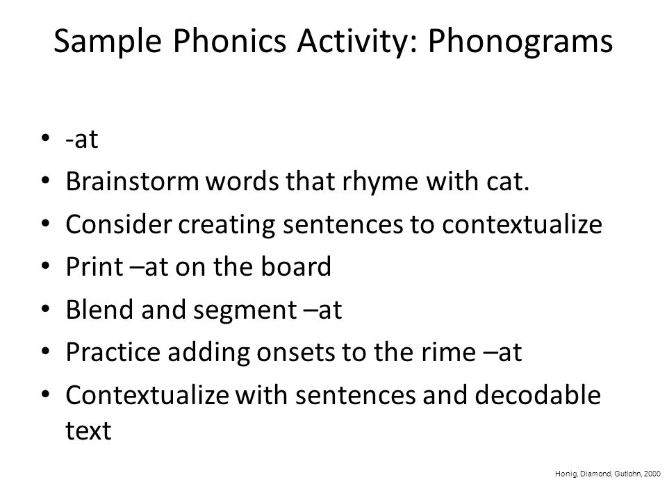 Sample Phonics Activity: Phonograms