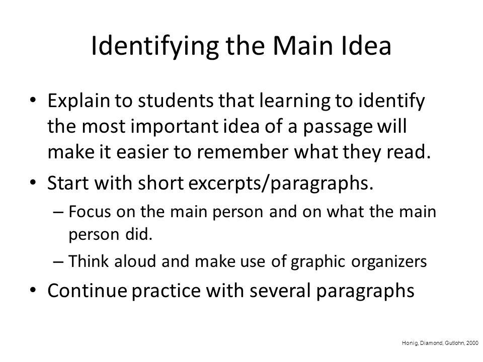 Identifying the Main Idea