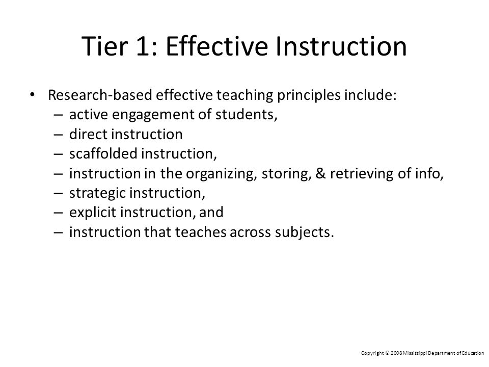 Tier 1: Effective Instruction
