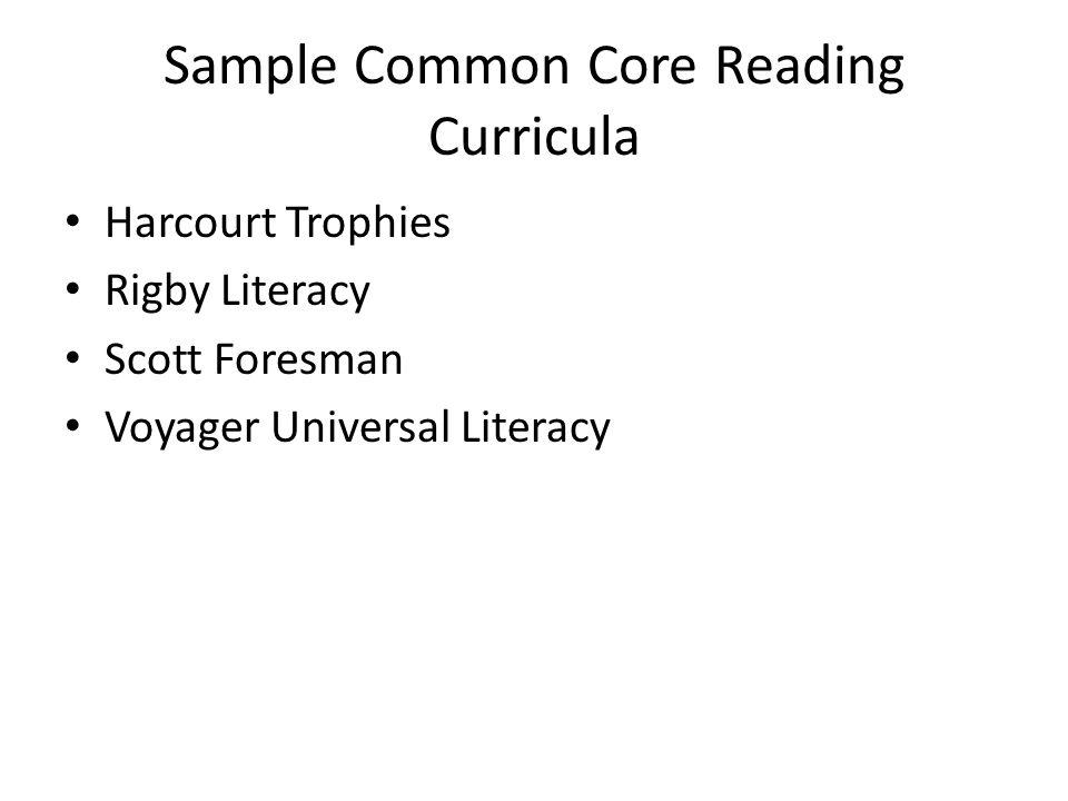 Sample Common Core Reading Curricula