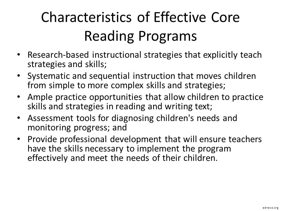 Characteristics of Effective Core Reading Programs