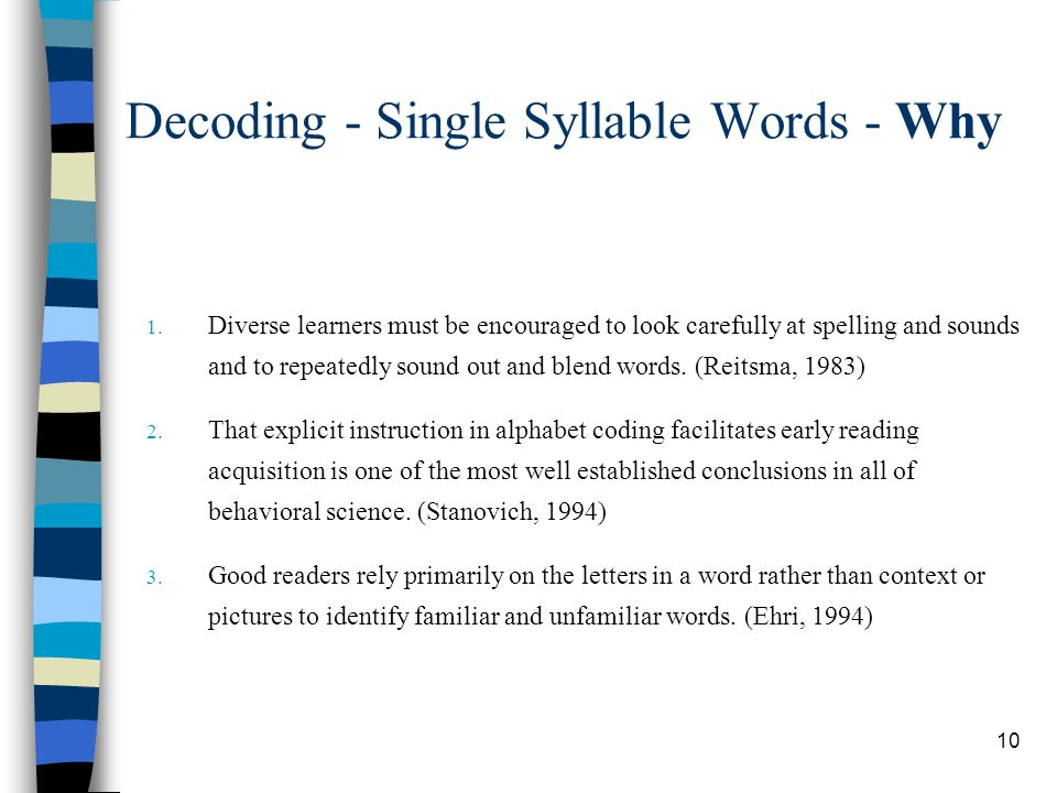Decoding - Single Syllable Words - Why