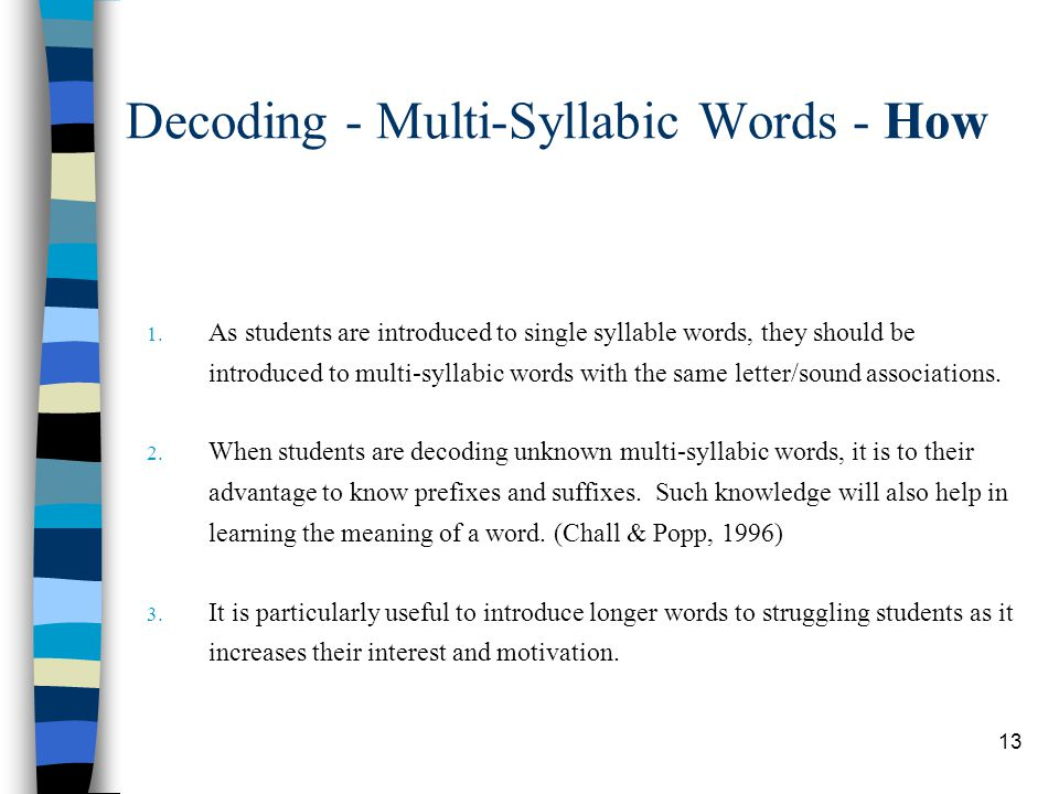 Decoding - Multi-Syllabic Words - How