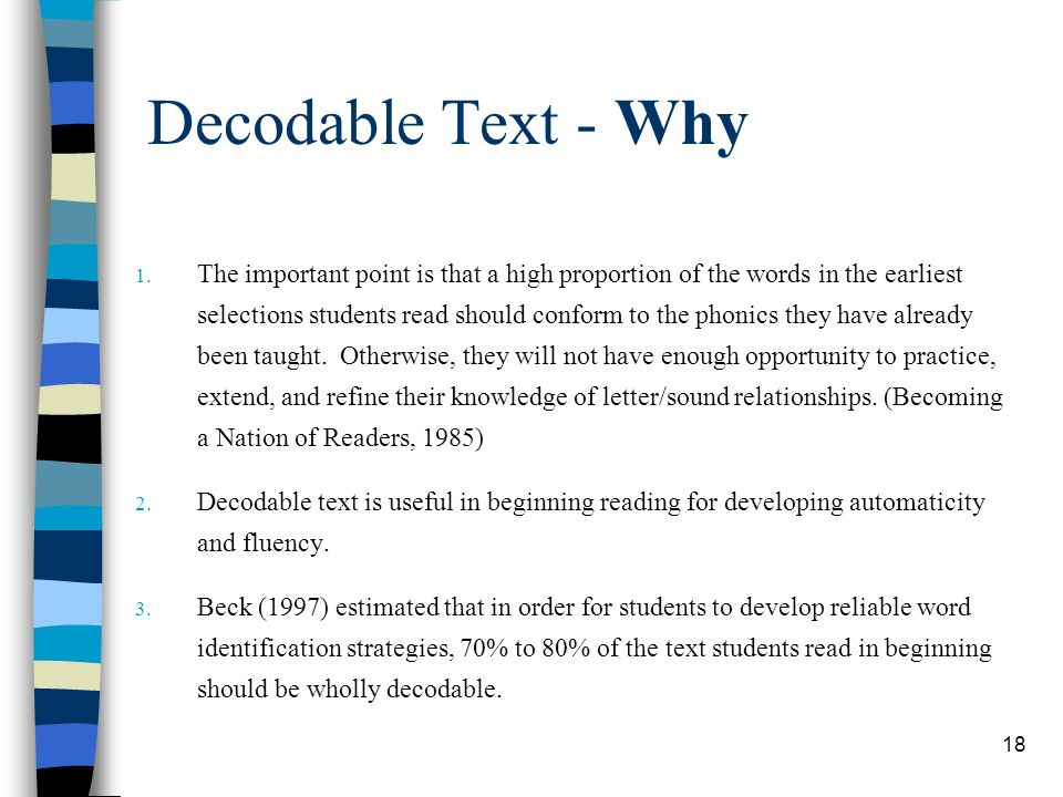 Decodable Text - Why