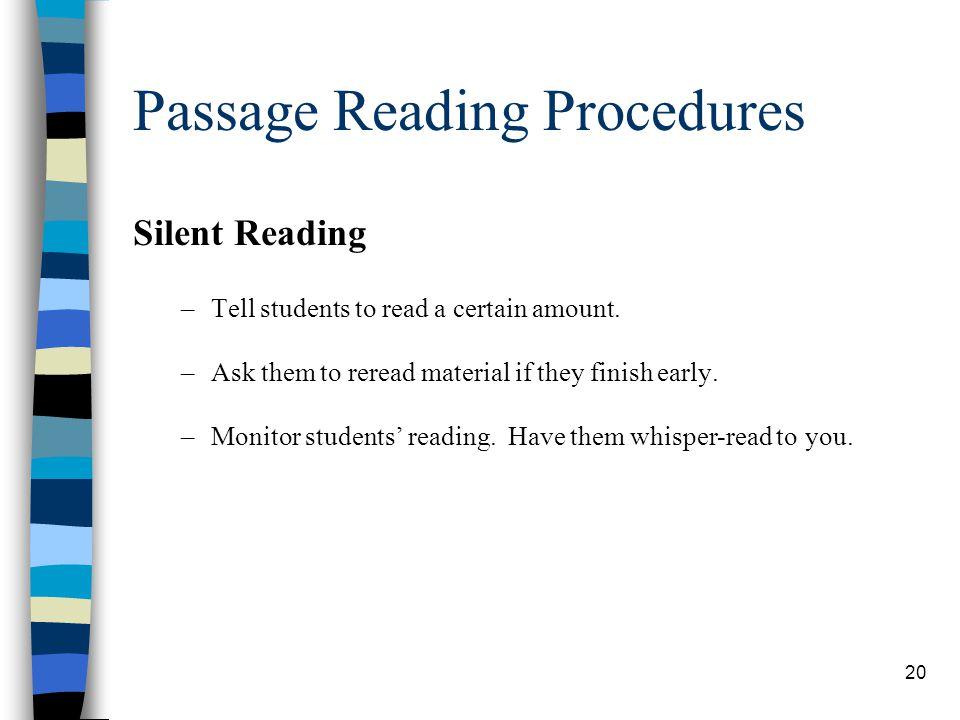 Passage Reading Procedures
