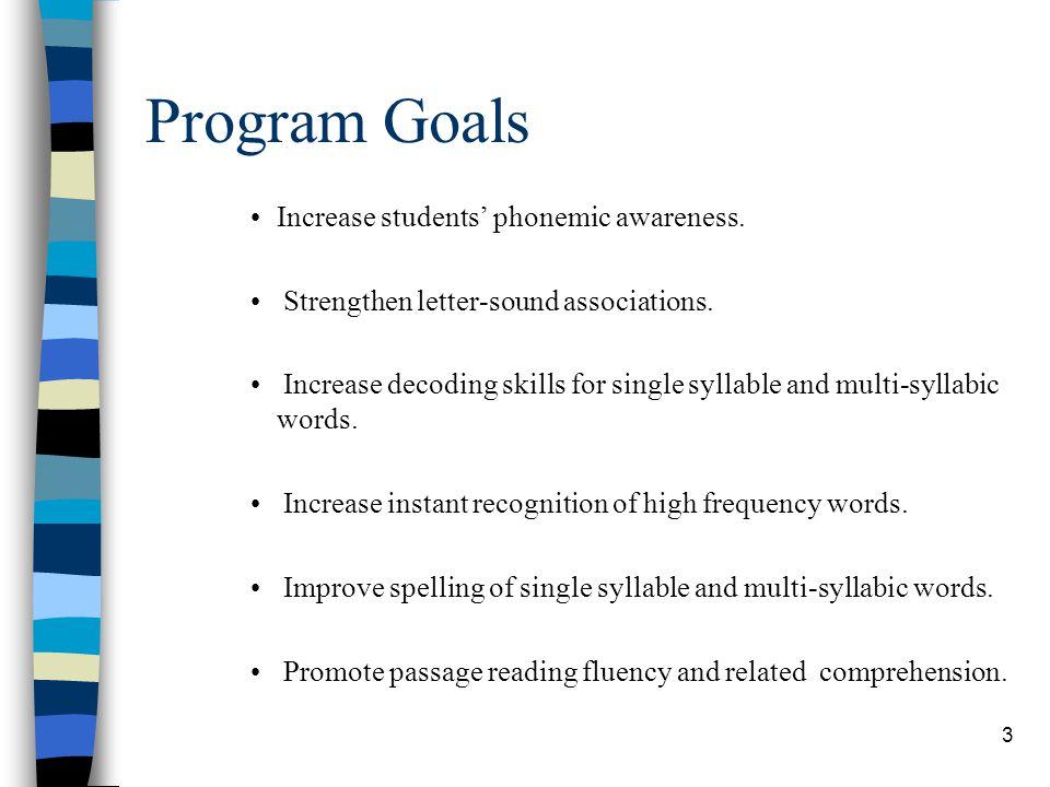 Program Goals Increase students' phonemic awareness.