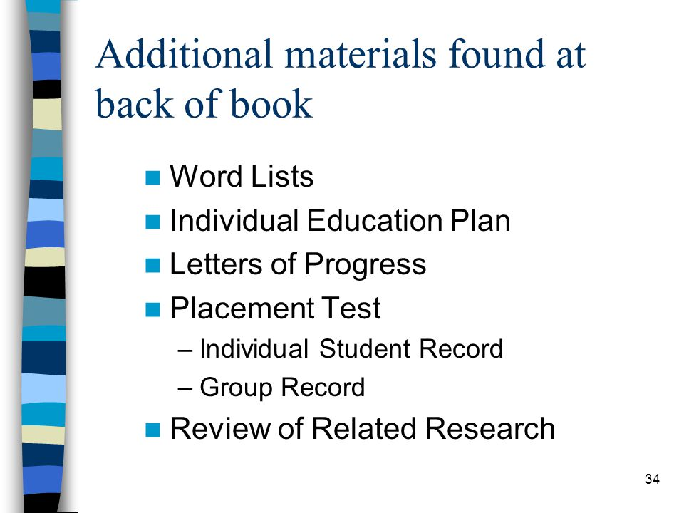 Additional materials found at back of book