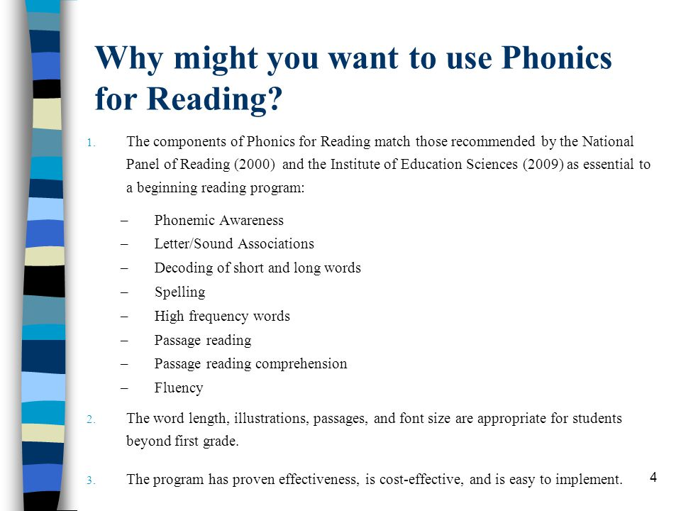 Why might you want to use Phonics for Reading