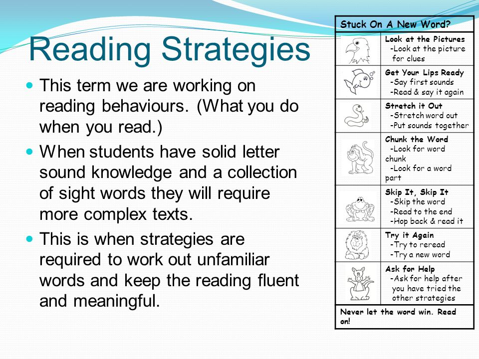 Reading Strategies Stuck On A New Word Look at the Pictures. -Look at the picture. for clues. Get Your Lips Ready.