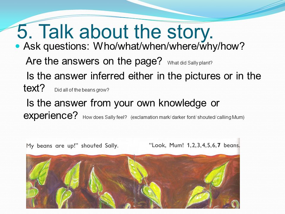 5. Talk about the story. Ask questions: Who/what/when/where/why/how