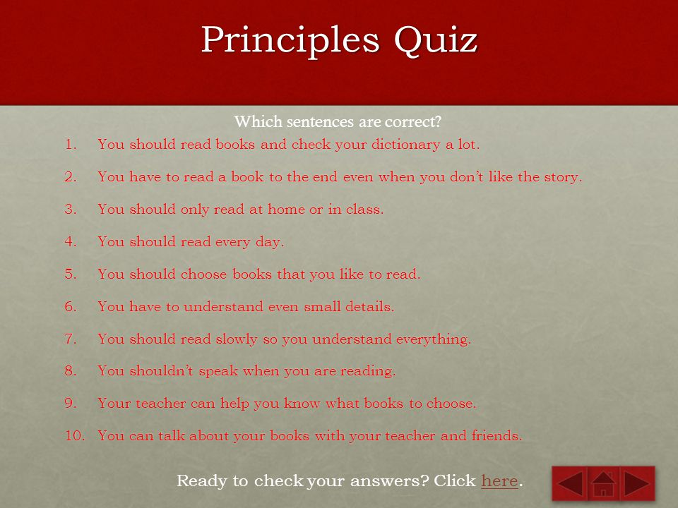 Principles Quiz Which sentences are correct