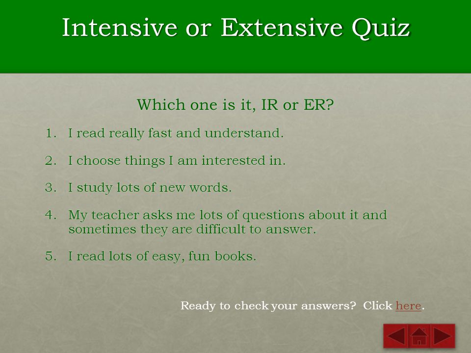 Intensive or Extensive Quiz