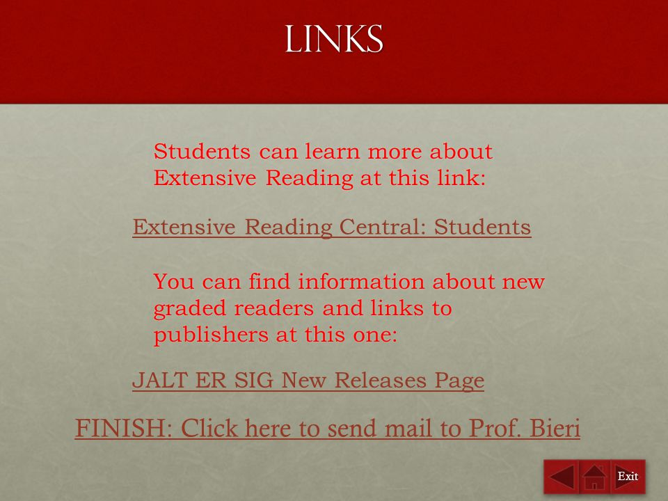 Links FINISH: Click here to send mail to Prof. Bieri