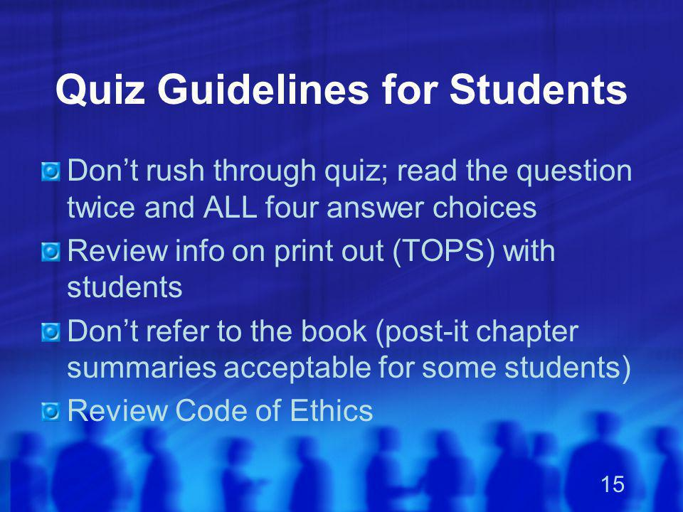 Quiz Guidelines for Students