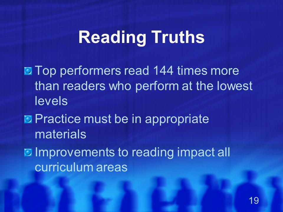 Reading Truths Top performers read 144 times more than readers who perform at the lowest levels. Practice must be in appropriate materials.