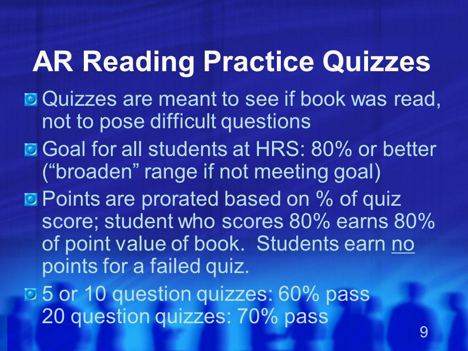 AR Reading Practice Quizzes
