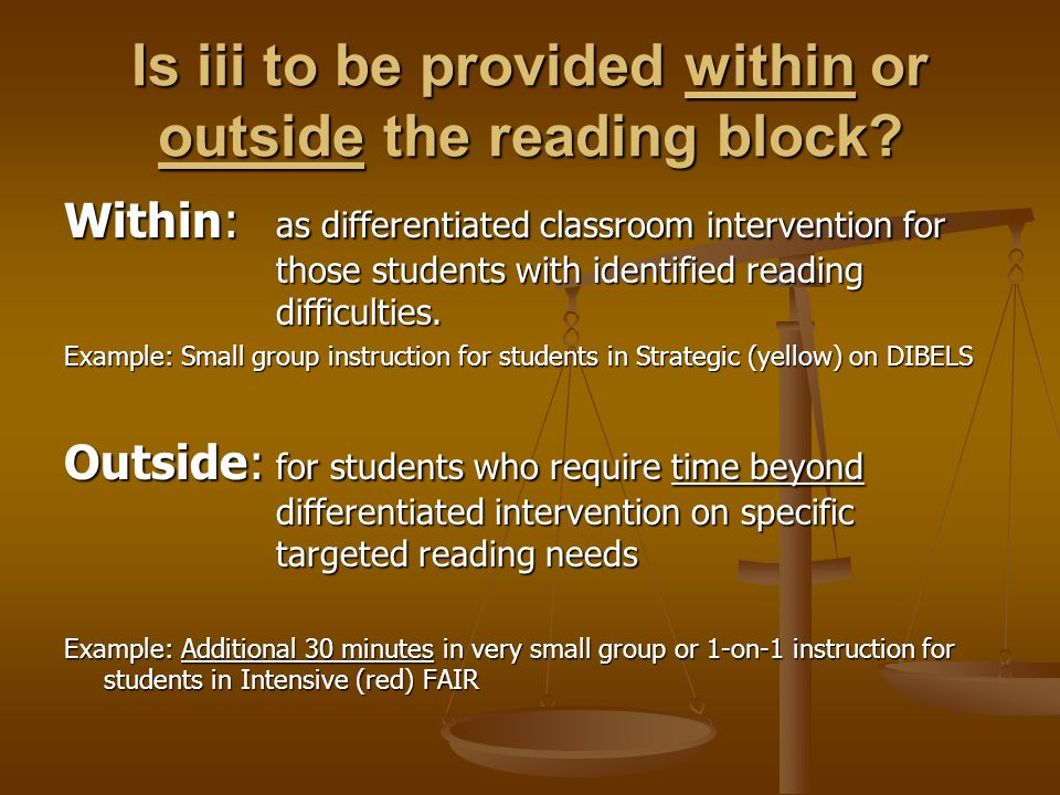 Is iii to be provided within or outside the reading block