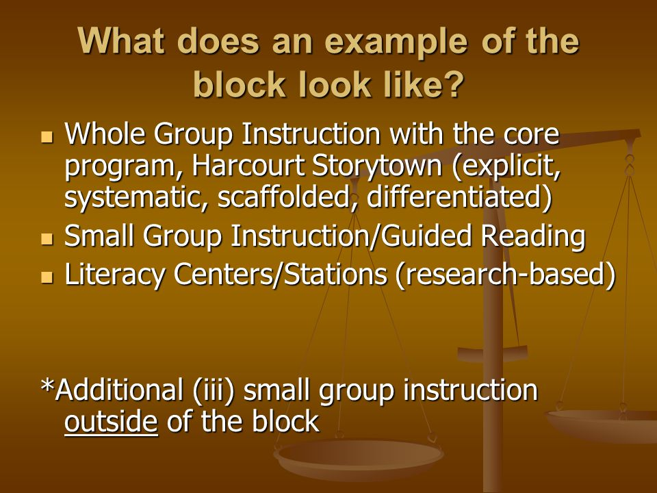 What does an example of the block look like