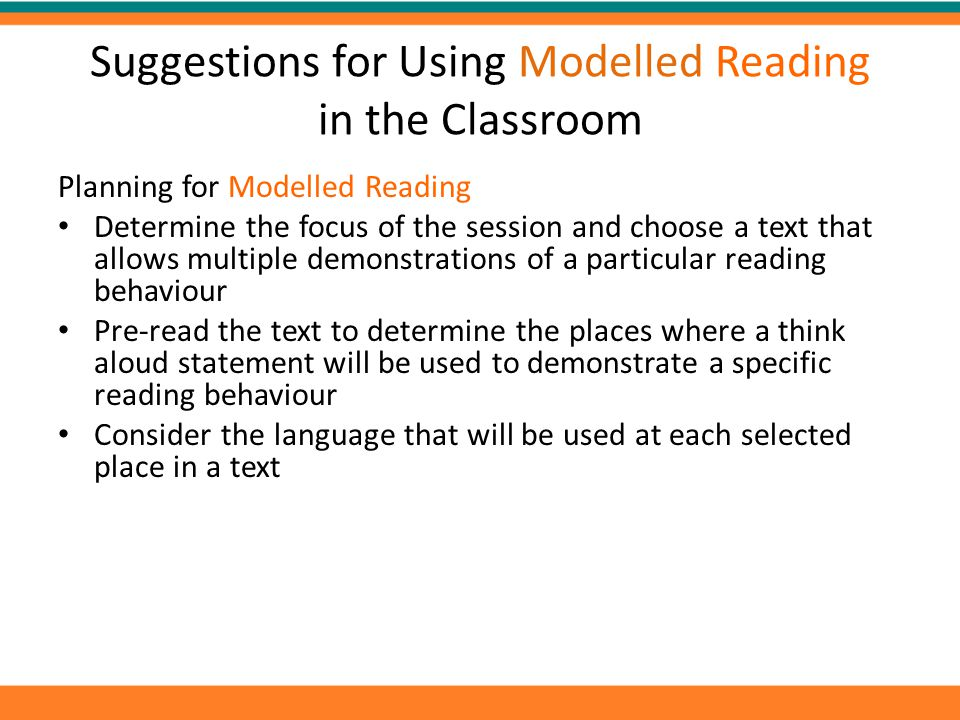 Suggestions for Using Modelled Reading in the Classroom