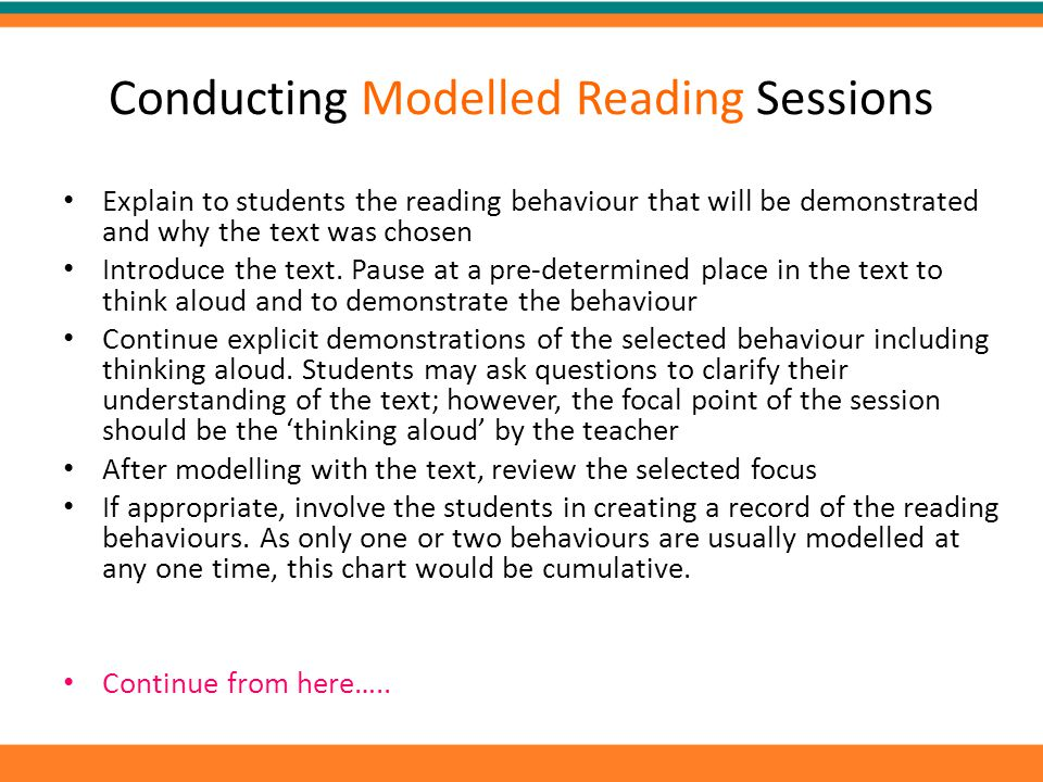Conducting Modelled Reading Sessions
