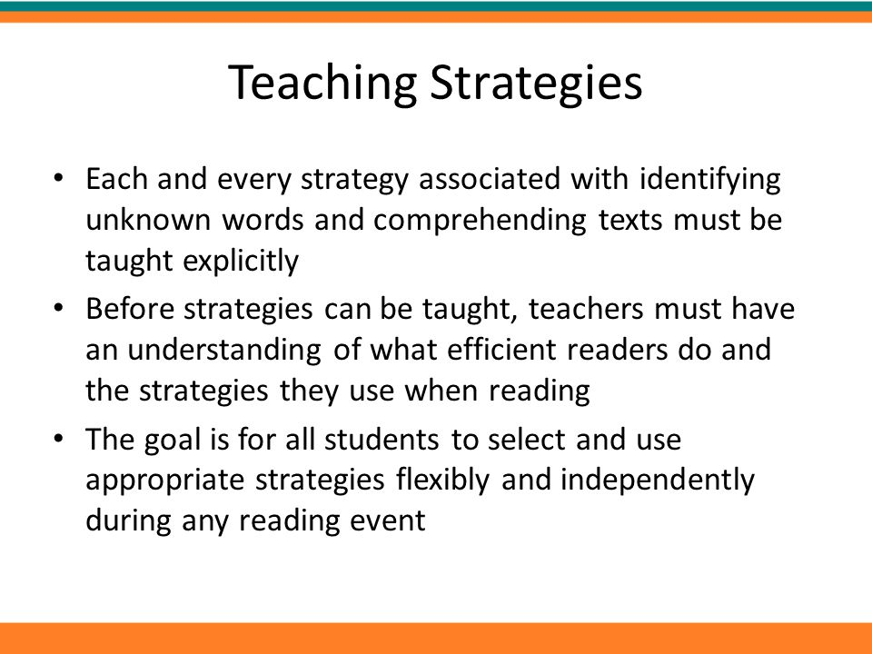 Teaching Strategies Each and every strategy associated with identifying unknown words and comprehending texts must be taught explicitly.