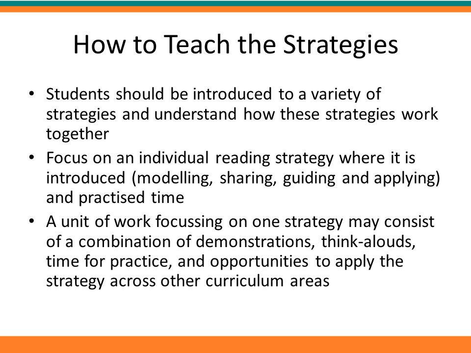 How to Teach the Strategies