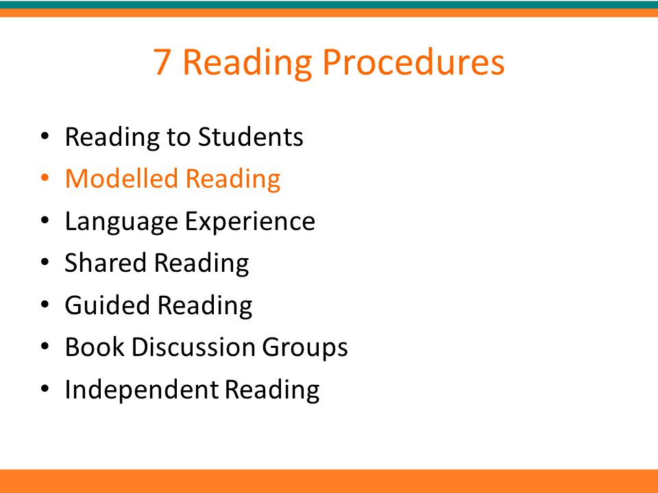 7 Reading Procedures Reading to Students Modelled Reading