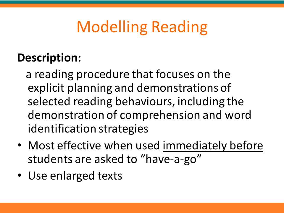 Modelling Reading Description: