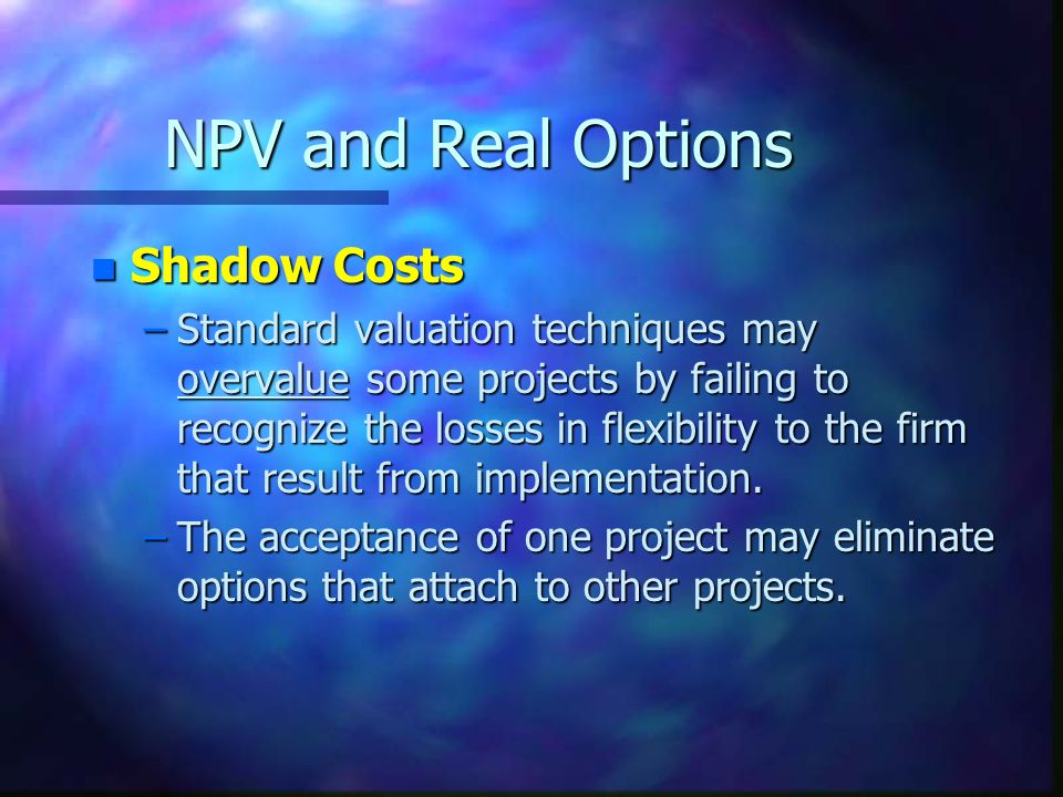 NPV and Real Options Shadow Costs