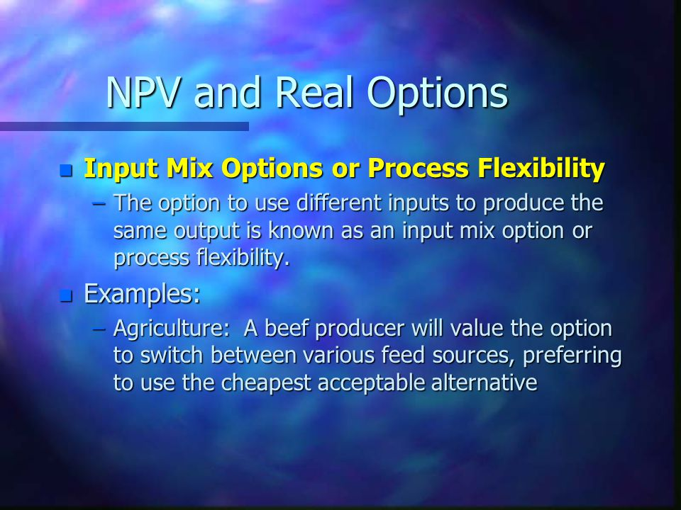 NPV and Real Options Input Mix Options or Process Flexibility