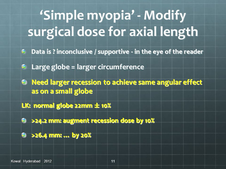 'Simple myopia' - Modify surgical dose for axial length