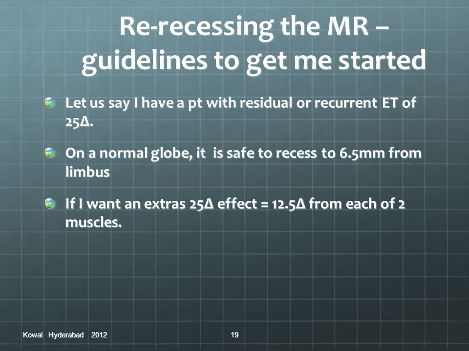 Re-recessing the MR – guidelines to get me started