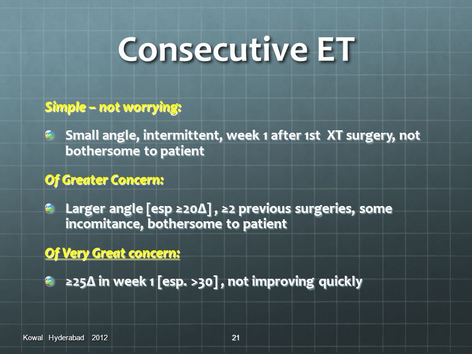 Consecutive ET Simple – not worrying: