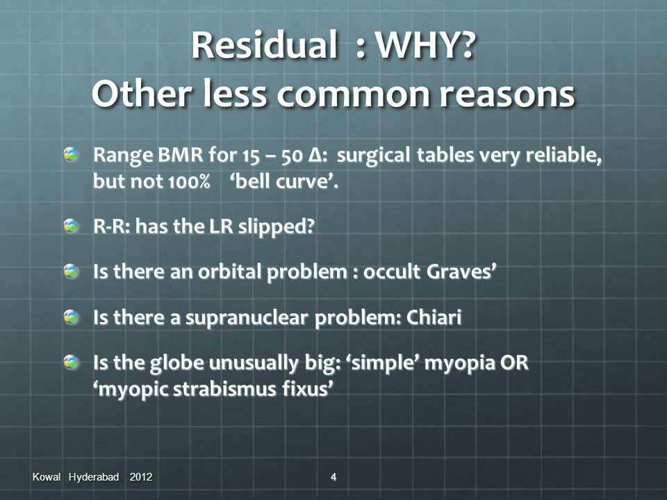 Residual : WHY Other less common reasons