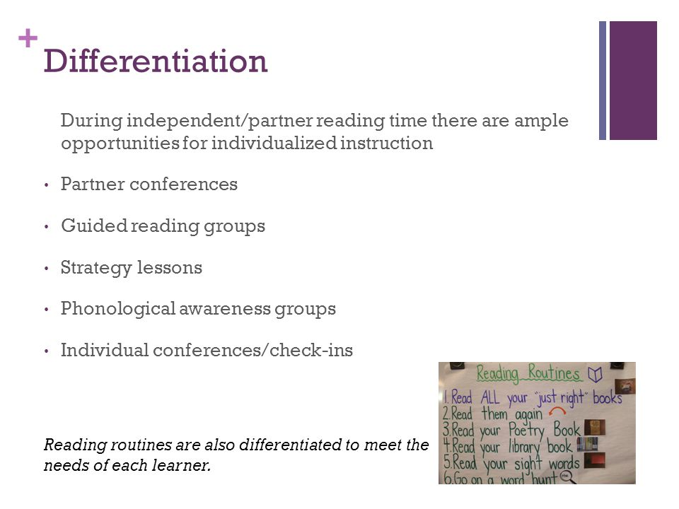 Differentiation During independent/partner reading time there are ample opportunities for individualized instruction.