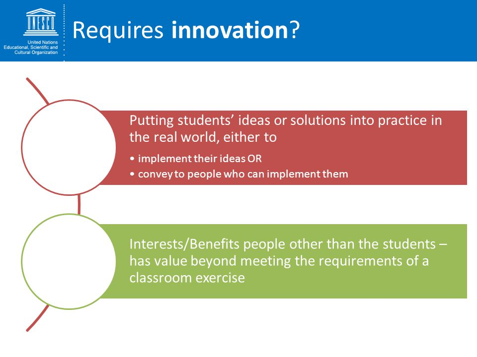 Requires innovation Putting students' ideas or solutions into practice in the real world, either to.