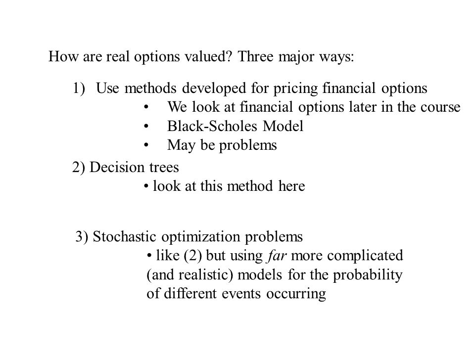 How are real options valued Three major ways: