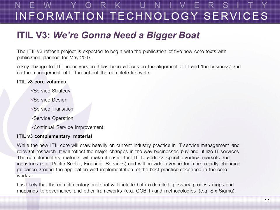 ITIL V3: We're Gonna Need a Bigger Boat