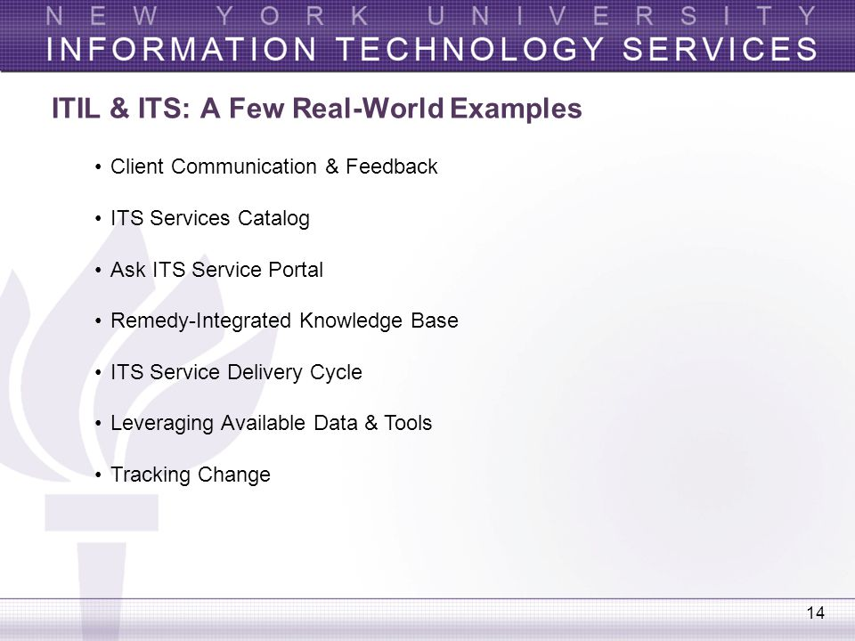 ITIL & ITS: A Few Real-World Examples